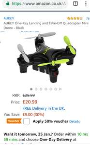 AUKEY One-Key Landing & Take-Off Quadcopter Mini Drone - Black  £10.50 (Prime) / £14.99 (nonPrime) Sold by FD europe & Fulfilled by Amazon.