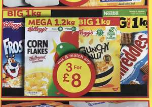 Any 3 for £8 1kg boxes of Crunchy Nut, Frosties, Shreddies and 1.2kg Corn Flakes @ Farmfoods