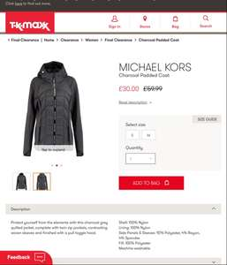 MICHAEL KORS Charcoal Padded Coat - £30 @ TK Maxx (+£3.99 P&P) or £1.99 click and collect
