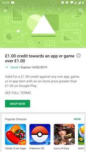 £1 credit available for Android users