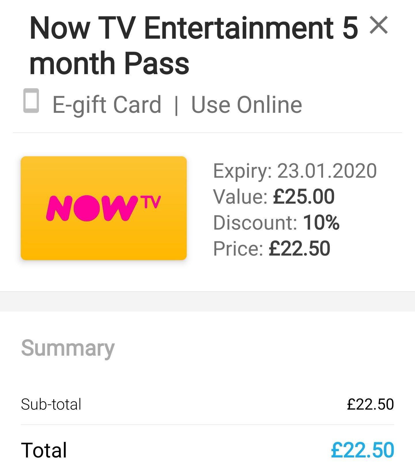 5 months Now TV Sky Entertainment. £22.50 at Zeek