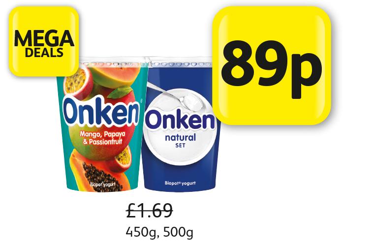 Onken Yogurt - Mango papaya & passionfruit 450g or natural set 500g, Was £1.69, Now 89p in store at Londis