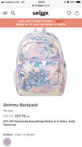 25% off new Shimmy collection @ Smiggle - Shimmy Backpack £27.75 + £4.99 Delivery