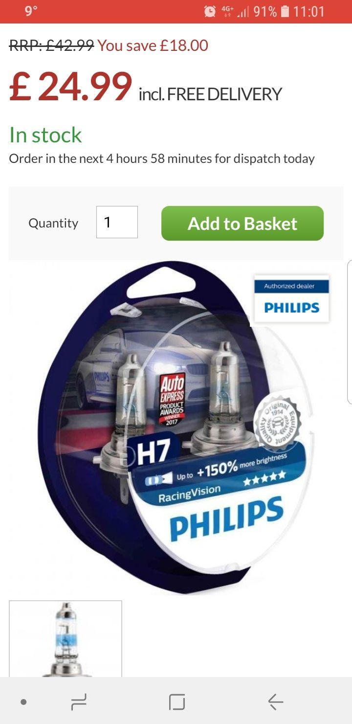 Philips RacingVision H7 (Twin) £18.74 Power Bulbs