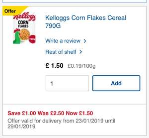 Kellogg's cornflakes 790g £1.50 Tesco in store and online