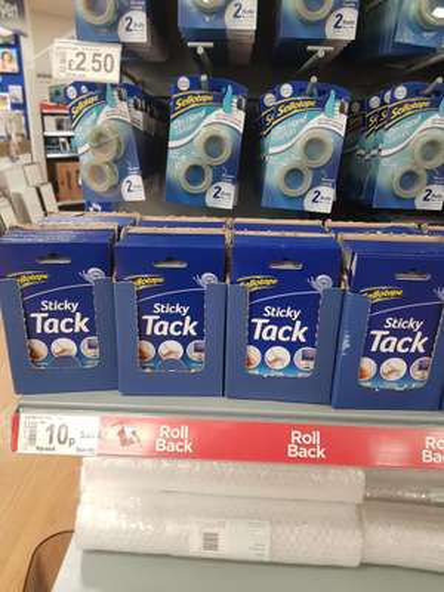 Sellotape blu tack 10p @ asda Ipswich white house store may be national