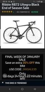 RRP £1299 Ribble R872 Road Cycle Size XS only Black & Silver Ultegra Chainset Mavic Aksium Wheels £844.35 @ Ribble cycles