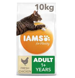 Iams for Vitality Cat Food with Fresh Chicken for Adult Cats, 10 kg £24.99 @ Amazon - Prime Exclusive