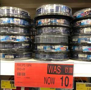 Philips 10 Pack Blank DVD+R at B&M 10p