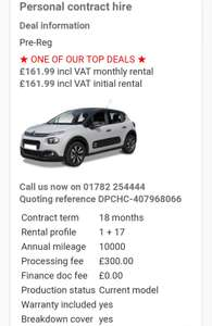 Citroen, C3 Hatch 1.2 PureTech 82 Feel 5Dr Manual 10,000miles £300 Fee 18 months - £3215.82 @ Yes lease
