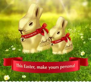 Free personalised ribbon on Lindt chocolate bunnies! also available at select Tesco stores