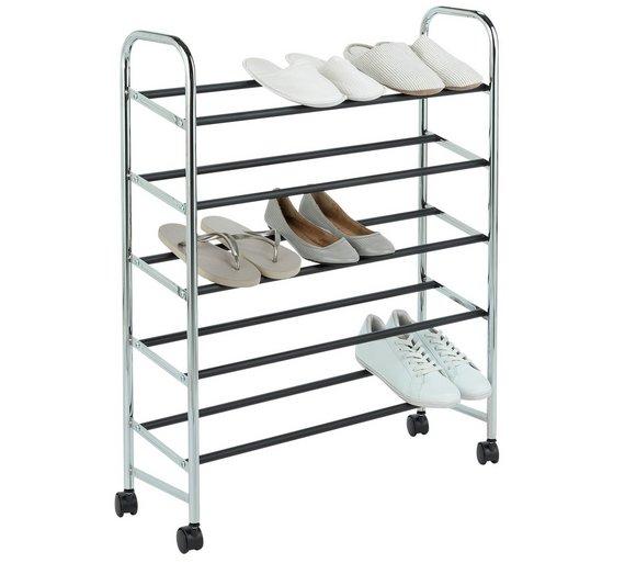 5 shelf rolling shoe storage rack argos home chrome. Black Bedroom Furniture Sets. Home Design Ideas