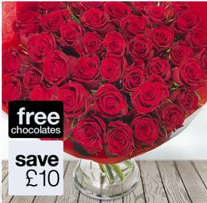 50 Red Roses Next available delivery on  28. January 50 Roses Was  £49.99 Now £39.99 + Free Chocolates @ eFlorist