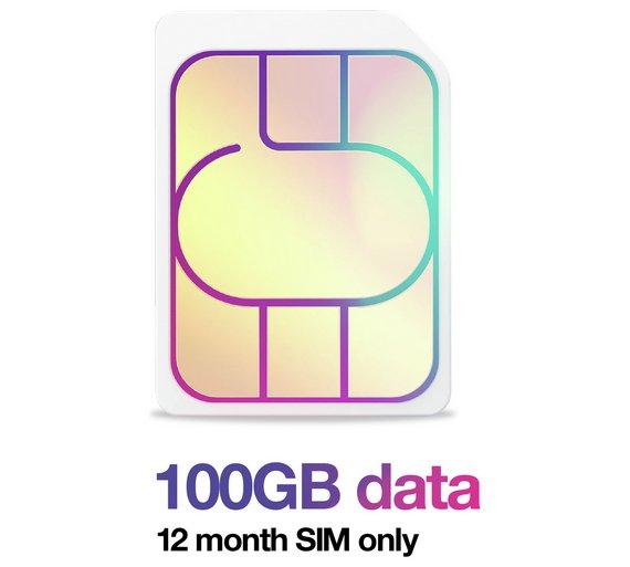 Three 12 Months 100GB SIM £1 @ Argos