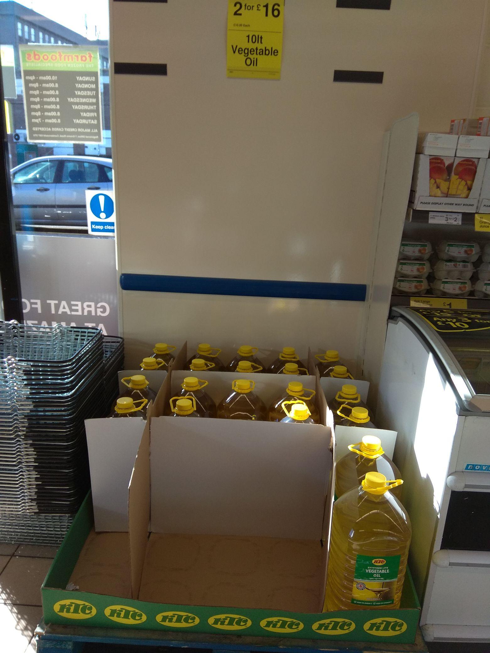 20 litres of KTC Vegetable Oil - £16 @ Farmfoods