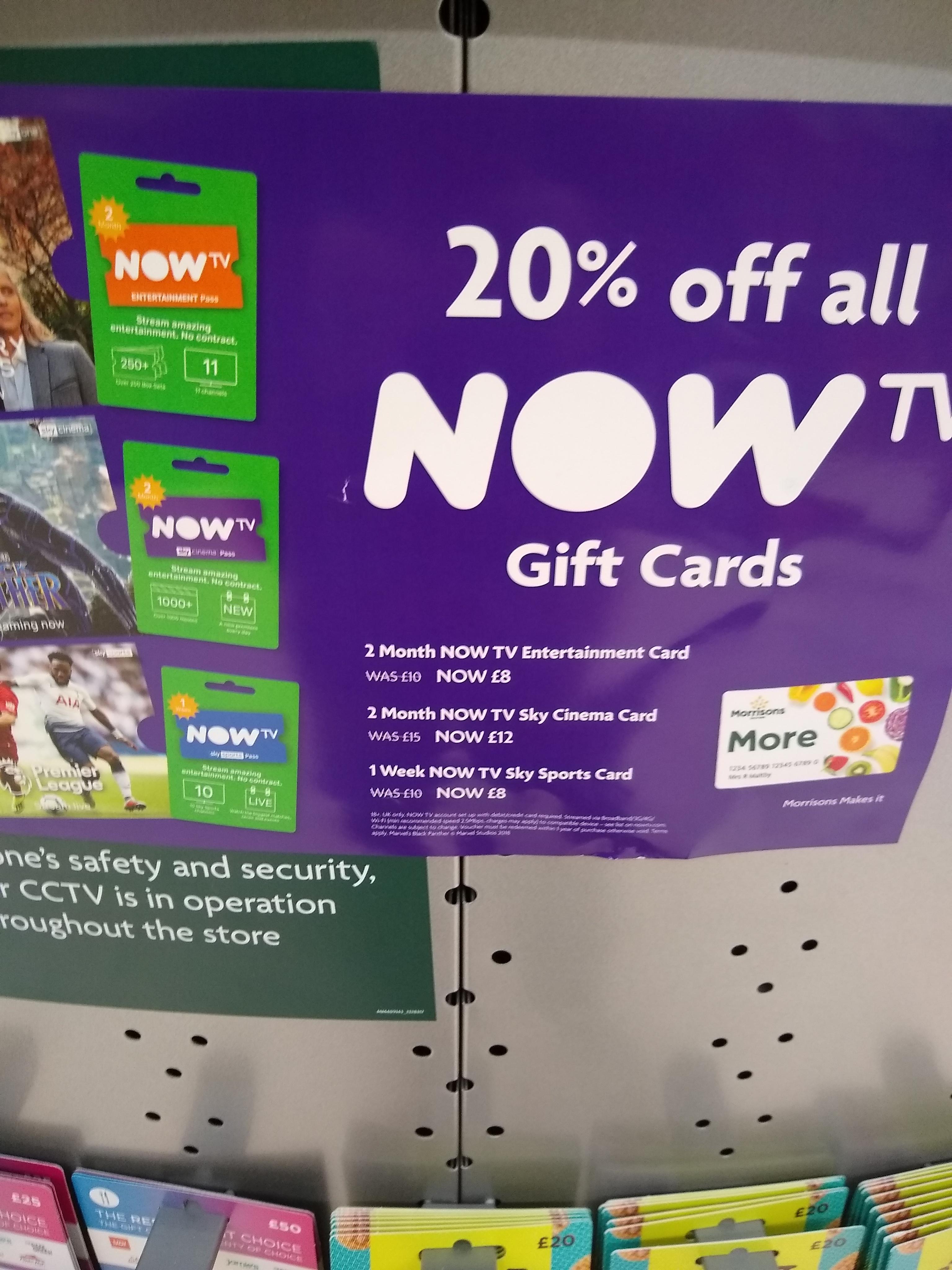 20% Off Now TV Cards Instore @ Morrisons