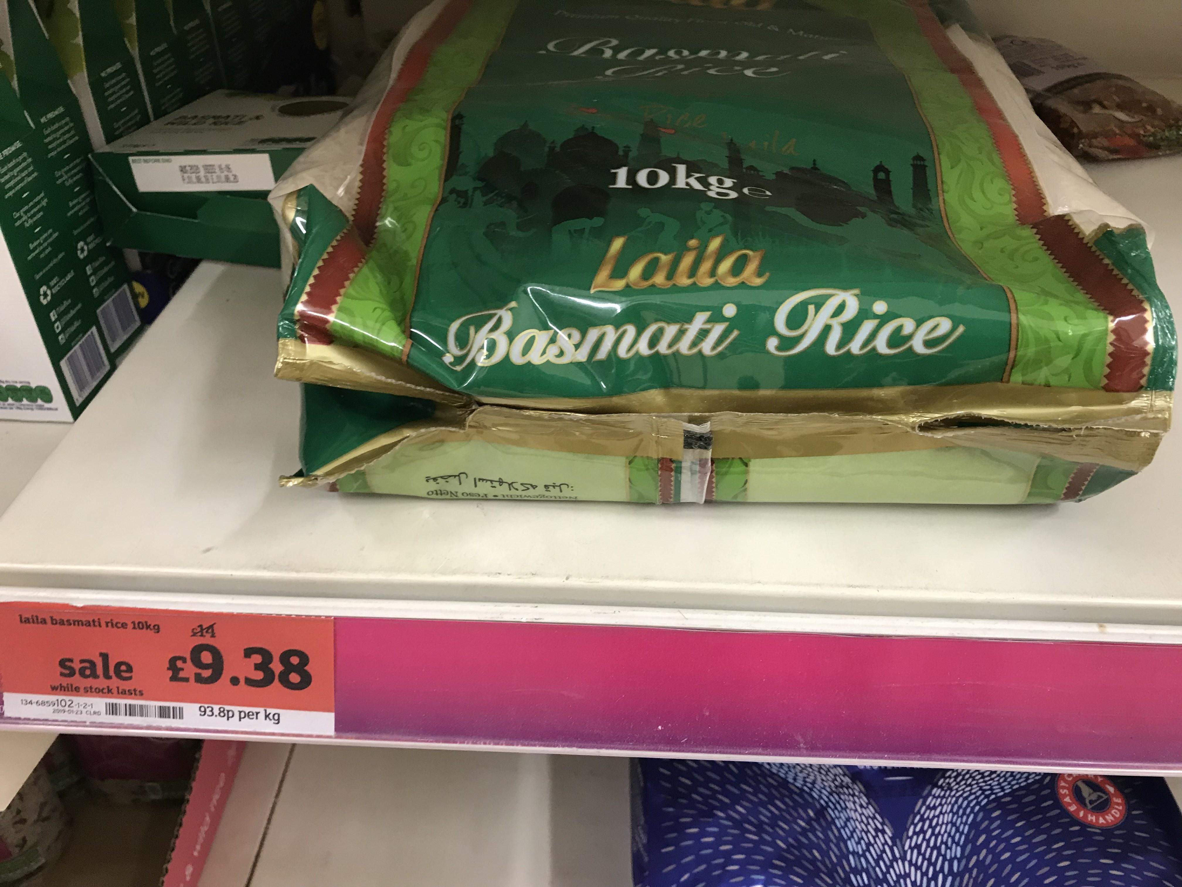 Laila basmati rice £9.38 in Sainsbury's instore