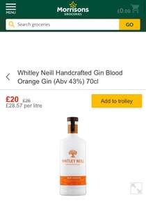 Whitley neill Blood Orange Gin at Morrisons for £20