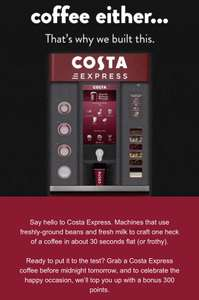 FREE Costa  300 point top up (worth £3) for coffee club users when you buy from a Costa Express (eligible accounts)