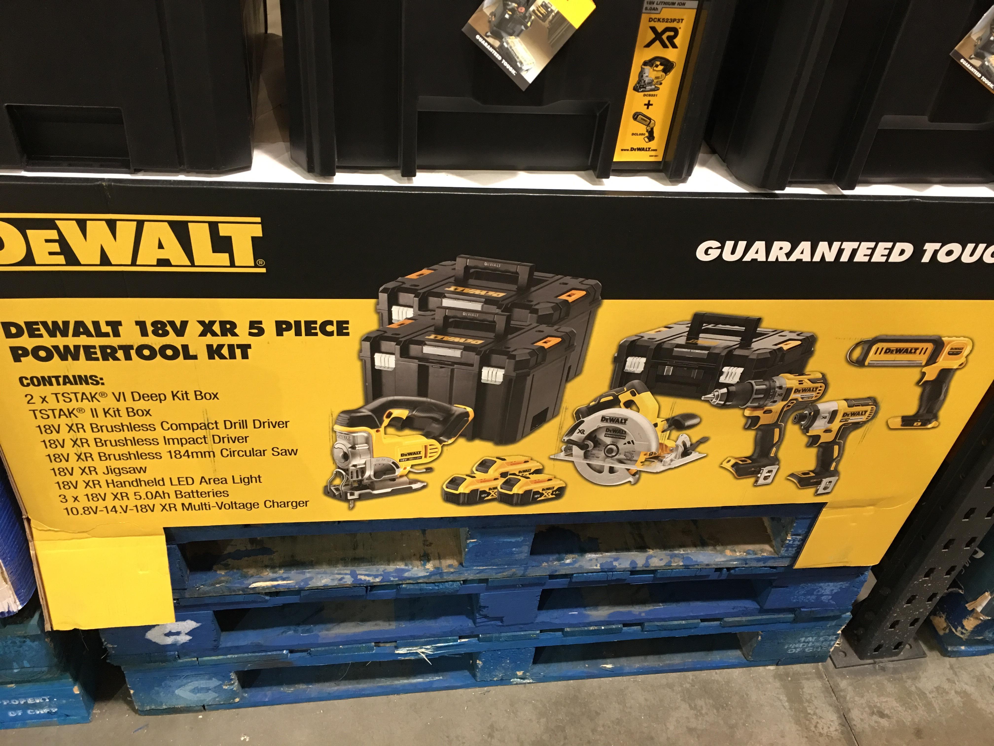 DeWalt 5 piece tool/drill/saw set plus 3 batteries £635.98 @ Costco