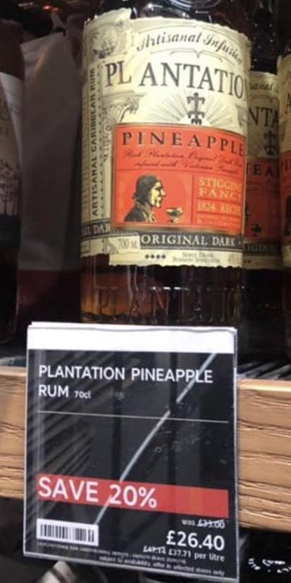 "Plantation Pineapple ""Stiggins Fancy"" Rum 70CL 20% off - £26.40 instore at M&S"