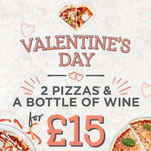 Two pizzas and a bottle of wine £15 at Stonehouse Pizza & Carvery