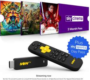 NOW TV Smart Stick plus 2 Month Sky Cinema Pass (or 3 Month Entertainment Pass) & 1 Day Sky Sports Pass £14.99 w/code  @ Currys