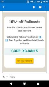 15% off all railcards @ Railcard