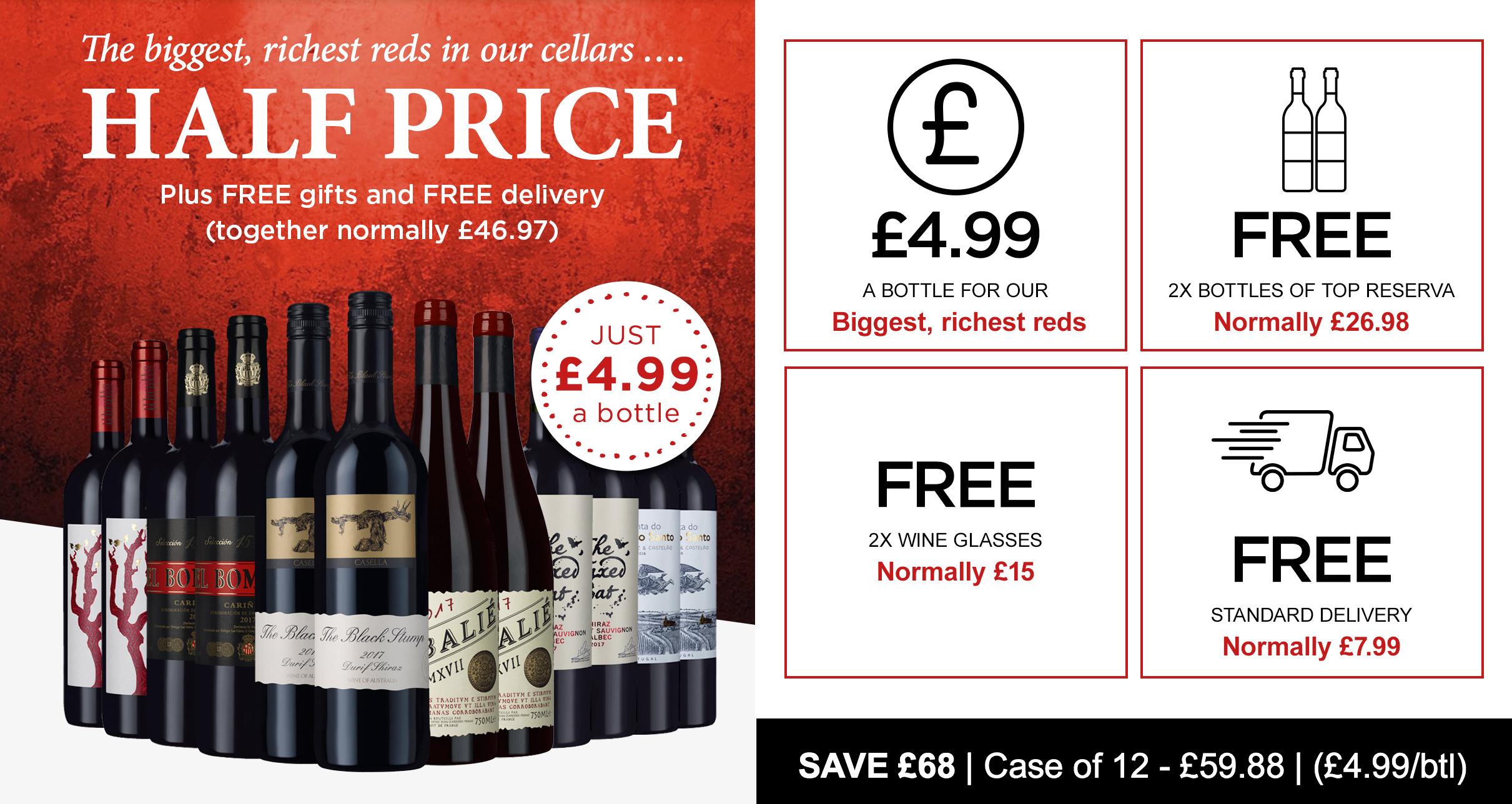 Half price case of red wine + 2 free bottles of rioja + 2 free wine glasses + free delivery - £59.98 @ Laithwaites