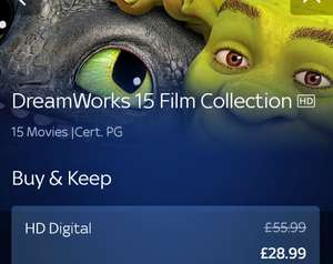 DreamWorks 15 Film Collection £28.99, buy and keep at Sky Store