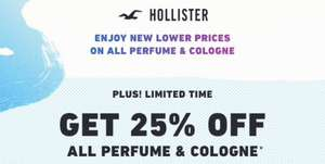 25% off on Hollister perfume & cologne
