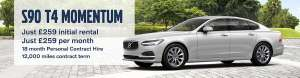 Volvo S90 T4 Momentum (PCH) - £259 deposit & 17 x £259 = £4,662 12k total miles - Caffyns
