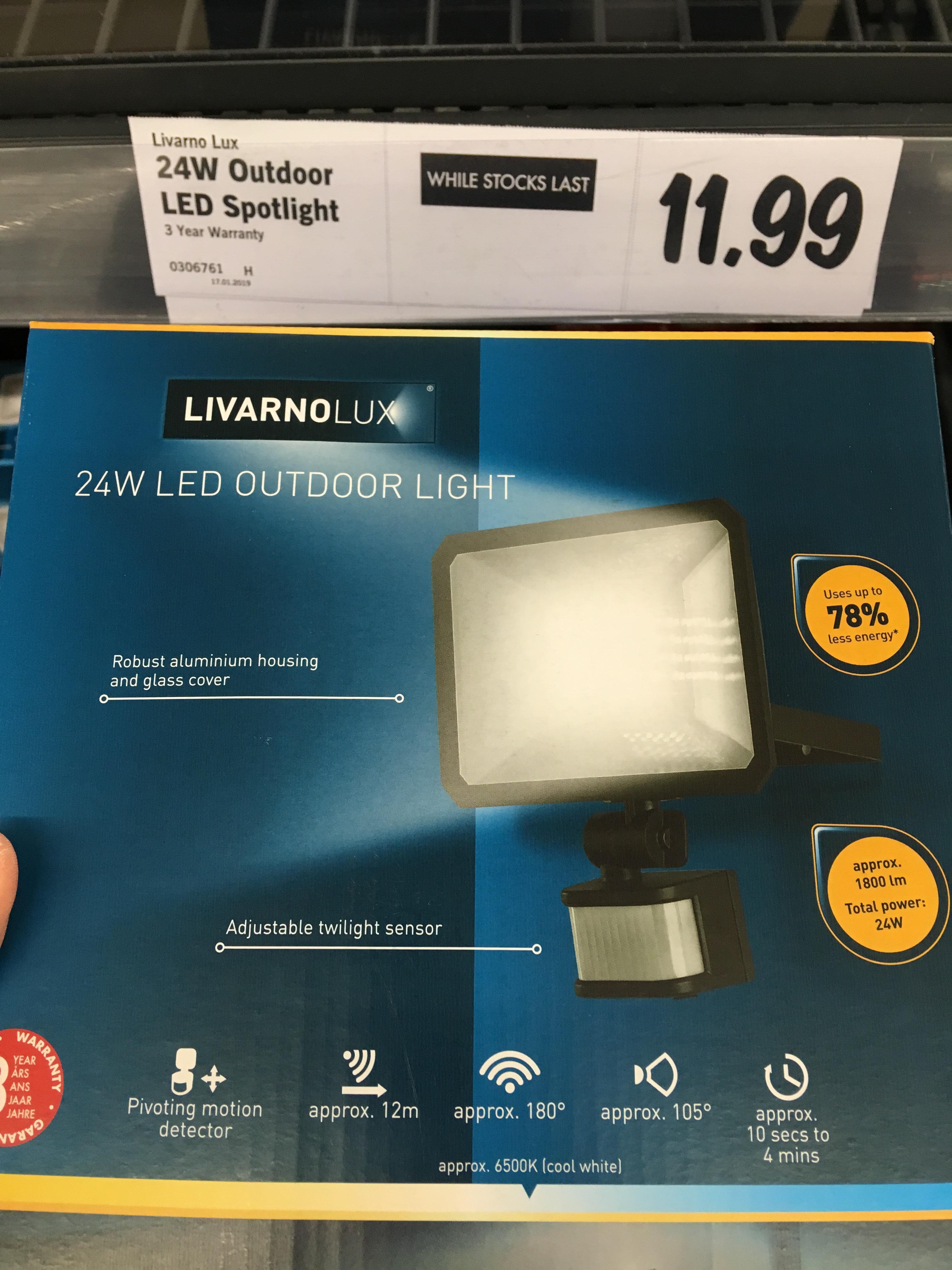 Outdoor LED light 24 watt with PIR £11.99 @ Lidl