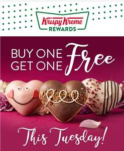 Buy one get one Free on Krispy Kreme Valentines donuts 5th Feb only