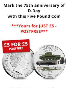 75 Anniversary of D-Day £5 coin. Free delivery - Westminster Collection