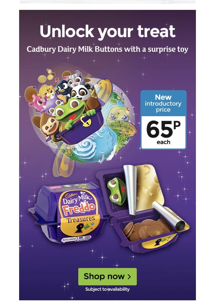 Cadbury Dairy milk Freddo Treasure Chocolate box with Toy 14.4g 65p @ Asda