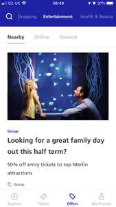 O2 priority 50% off selected Merlin attractions for half term