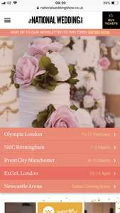 Free national wedding show tickets worth up to £20 each