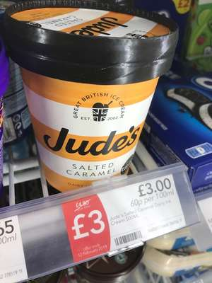Jude's Ice Cream £3 at Co-op instore - £1.50 after claiming cashback from Checkoutsmart