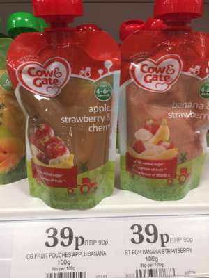 Cow & Gate Apple, Strawberry & Cherry / Strawberry & Banana 4-6+months 100g Pouches 39p @ Home Bargains