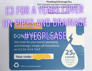 £3 for the first year (That's 25p a month) plumbing and drainage cover @ anglian water Home Serve
