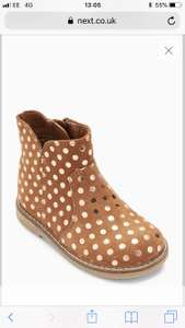 Next girls tan spot ankle boots £10 in online clearance free click and collect