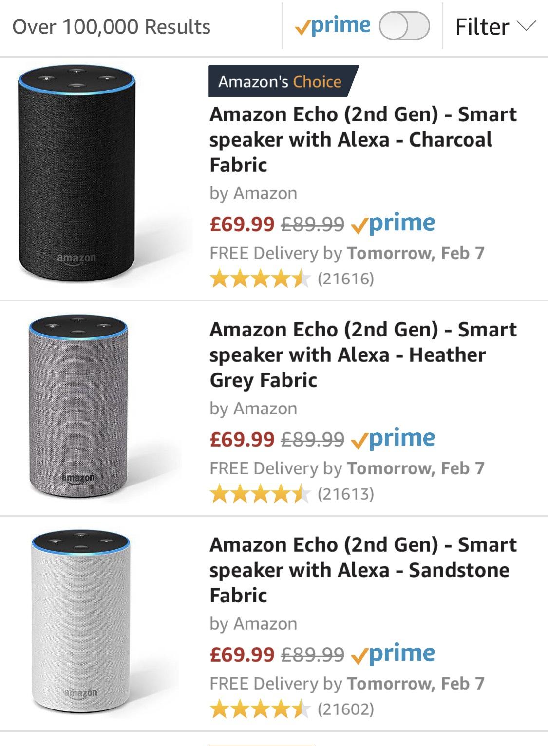 Amazon Echo (2nd gen) £69.99 , Amazon Echo Spot £99.99, Echo Show (2nd Gen) £189.99 at Amazon (£20 off)