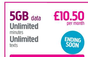 No long term contract, rolling monthly paid SIM. 5GB data & unlimited calls. £10.50 month @ Plusnet