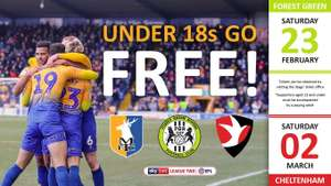 Under-18s go FREE for next two home matches @ MansfieldTown.net