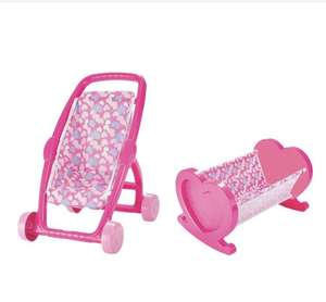 Dolls pink stroller and bed twin pack £8.14 delivered with code at Bargain Crazy