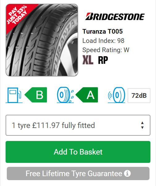 National Tyres (Bridgestone : 225/50 W 17 : Turanza T005 XL P (Rim Protector fitment) - £385.89