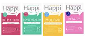 Home Bargains - Happi Menopause Support tablets multivitamins from 99p ( Keep Active, Bone Health, Multivit, Beauty, Wellness Kit)