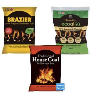 Brazier Smokeless Fuel Coal Bag 10kg £4 / Homefire Ecoal 50 10Kg £5 / ​CPL Traditional House Coal 10KG £3​ - Free C&C @ Wickes