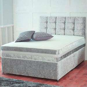 CRUSHED VELVET DIVAN BED + MEMORY MATTRESS + HEADBOARD 4FT6 Double / Small Double £144.49 / Single £101 w/code @ bedworld ebay